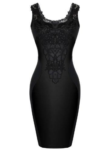 PAKULA Women's Fashion Sexy Lace Embroidered Slimming Sleeveless Pencil Dress , Black ,XL