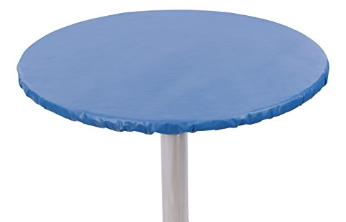 """Yourtablecloth Heavy Duty Vinyl Round Fitted Tablecloth (Table Cover) with Flannel Backing Vibrant Colors Elasticized Tablecloth Great for Indoor and Outdoor Dining and Playing Cards 48"""" Royal (Vibrant Blue Vinyl)"""