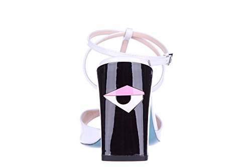 Fendi sandales femme à talon en cuir eye blanc