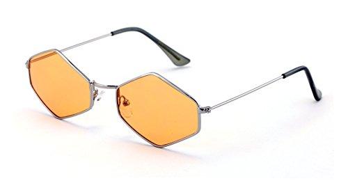 V.W.E. Metal Frame Slim Temple Color Lens Hexagon Sunglasses Rock and Roll - Hexagon Glasses Frames