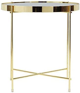 Tray Metal End Table Side Table Round Tray Removable Tray Outdoor Indoor Drink Snack Coffee Table Telephone Table White_Wood