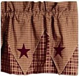 IHF Home Decor Pointed Valance Vintage Star Wine Window Treatments 100% Cotton 60 Inch x 16 Inch