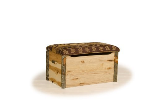 Amish Blanket Chest - Rustic Hickory and Oak Blanket Chest- Bear Mountain Fabric - Amish Made