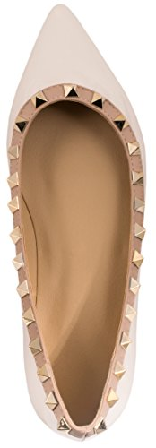 Pointe Vernis Femmes Classique Elara Blanc Rivets Chaussures Ballerines Flats qcUYawat