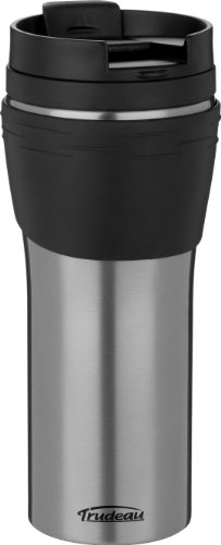 Trudeau Erin 16-Ounce Stainless Steel Travel Tumbler, Grey (Travel Trudeau Mug)