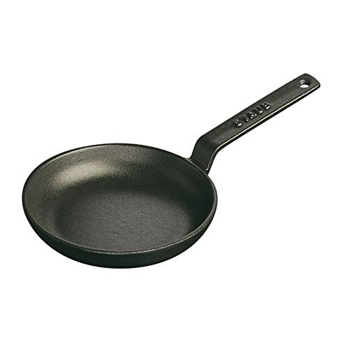 Staub 1221223 Cast Iron Mini Frying Pan, 4.75-inch, Black Ma