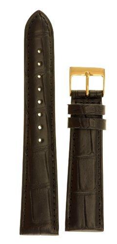 ana Alligator Watchband Natural Matte Finish Black 19mm Watch Band (Louisiana Alligator)
