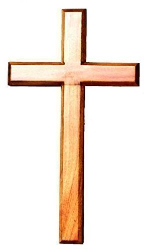 60cm wooden Mahogany very large wall hanging cross brown wood Shalom
