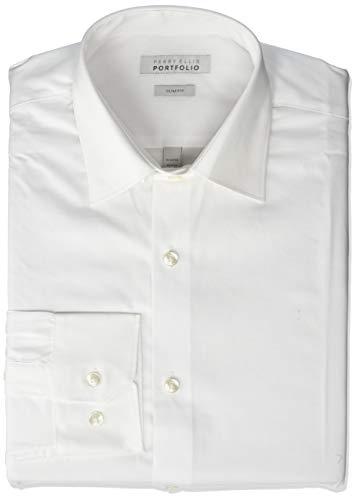 Perry Ellis Men's Slim Fit Wrinkle Free Dress Shirt, Basic White, 16 34/35 ()