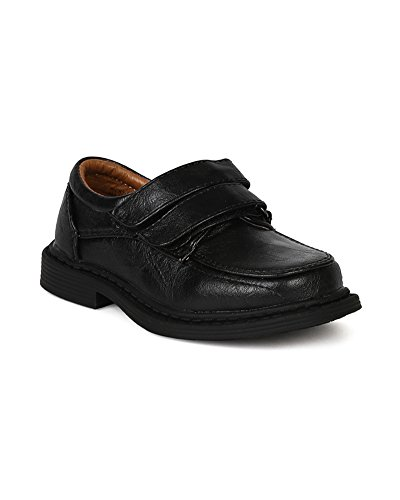 Leatherette Double Velcro Buckle Strap Dress School Shoe (Boys) BE21 - Black (Size: Little Kid 2) by School Rider