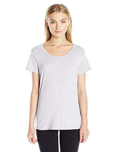 Danskin Women's Essential Short Sleeve Tee, White, L