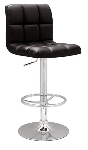 Chintaly Imports 0394 Stitched Seat and Back Pneumatic Gas Lift Adjustable Height Swivel Stool, Chrome Black PU