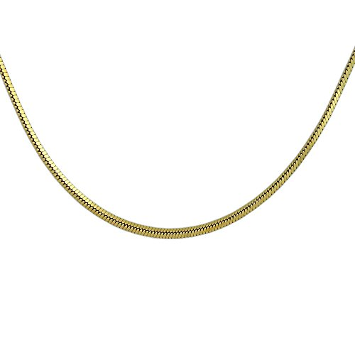 18K Gold Over Sterling Silver 0.76mm Diamond Cut Square Snake Chain Necklace 24