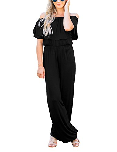 Lookbook Store Women's Sexy Off Shoulder High Waisted Ruffled Long Wide Leg Pants Black Jumpsuits Rompers Size L by Lookbook Store (Image #3)