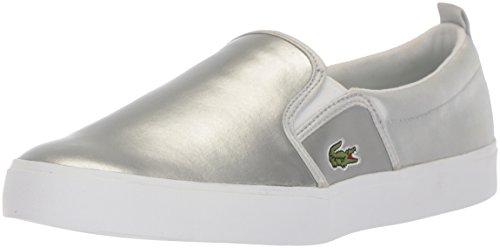 Lacoste Unisex-Kids Gazon Sneaker, Silver Leather, 1 M US Little Kid