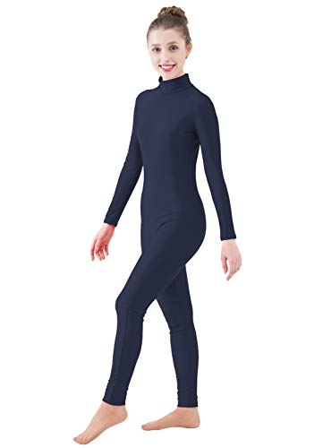 Ensnovo Womens Turtleneck Spandex Long Sleeve Front Zipper Footless Unitard Navy,XXL]()