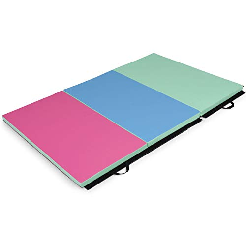 oldzon Exercise Mat 4'x6'x2 Portable Tri-fold PU Gymnastic Aerobics Gym Fitness with Ebook