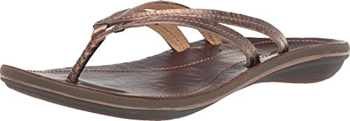 Java Metal Cover - OLUKAI Women's U'I Sandal, Bronze/Dark Java, 8 M US