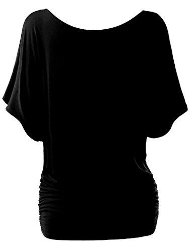 Camisas Blusas Camisetas Tops Hombro Desnudo Elegante Suelto y Confortable Negro