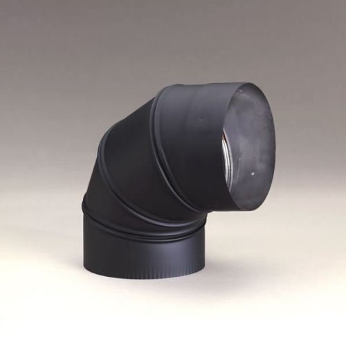 (Chimney 21153 6 Inch Heat-fab 22-ga Welded Black Stovepipe 90 Deg Sectioned Adjustable)