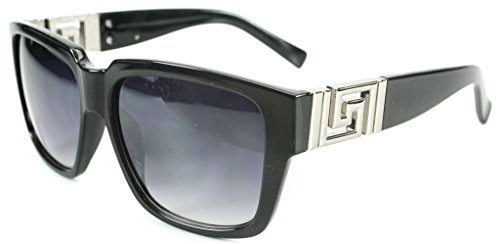 Georgio Caponi Greek Key Classic Square Hip Hop Sunglasses (Silver & Black, - Biggie Sunglasses