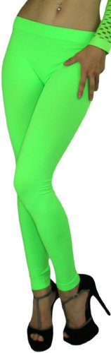 ToBeInStyle Women's Footless Elastic Leggings - One Size - Neon Green