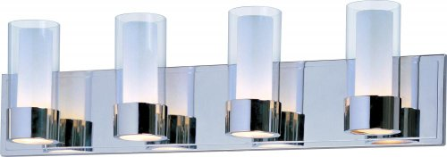 Maxim 23074CLFTPC Silo 4-Light Bath Vanity, Polished Chrome Finish, Clear/Frosted Glass, G9 Frost Xenon Xenon Bulb , 100W Max., Wet Safety Rating, 2700K Color Temp, Standard Dimmable, Glass Shade Material, - Maxim Bathroom Bars Lighting