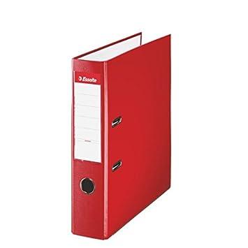 Esselte 42301, Archivador de Palanca de PP de Plástico Forrado, Rojo, Anchura lomo: 75 mm: Amazon.es: Oficina y papelería