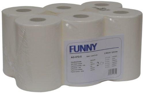 Funny Handtuchrolle mit Spezialkern, für Markenfreie Spendersysteme, 2 lagig hochweiß, 21, 3 cm, circa 100 m,...
