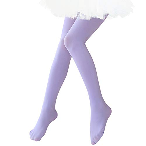 Ballet Dance Tights Ultra Soft Transition Girls Student Footed Tight(Toddler/Little Kid/Big Kid) (S, Light Purple)
