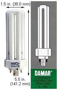 (Case of 10) Triple Twin Tube Compact Fluorescent Lamps | CFM32W/GX24Q-3/835 32 Watt Triple 4-Pin 3500K GX24Q-3 Base by Damar (Image #1)