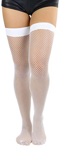 (ToBeInStyle Women's Nylon Fishnet Thigh Highs - White - One Size)