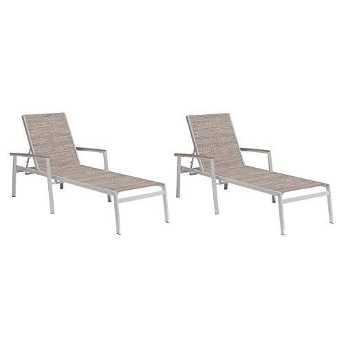 Oxford Garden Travira 2 Piece Aluminum Patio Chaise Lounge Set W/Tekwood Vintage Arm Caps Bellows Sling