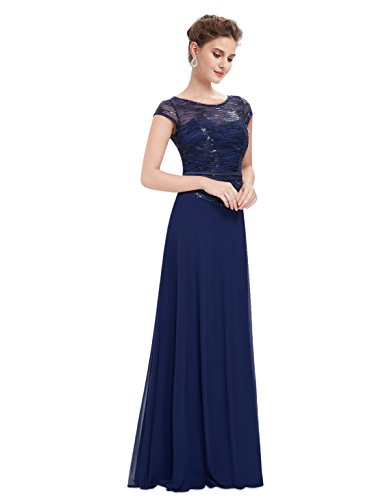 Pailetten Chiffon Damen Elegant Pretty 08818 Abendkleider Lang Maxikleider Ever Marineblau ftSxq77