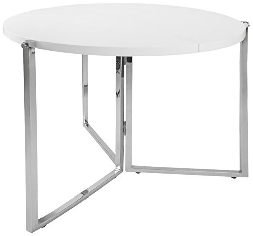 Corner Housewares Round Circular Modern Folding Table, Chrome Metal base, Glossy Finish, (Folding Corner)