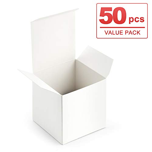 ValBox 3x3x3 White Gift Boxes 50pcs Recycled Paper Cube Boxes with Lids for Gifts, Crafting, Cupcake Boxes, Easy Assemble Boxes for Party Favor ()