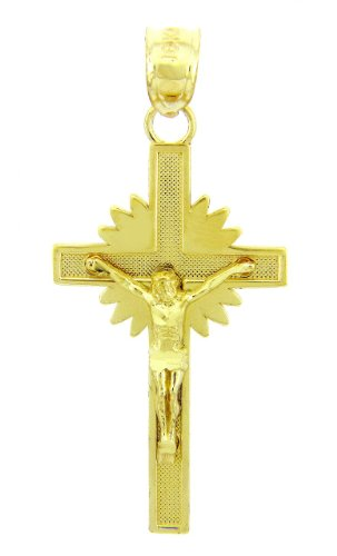 10 ct 471/1000 Or Jaune Crucifix - L'Etoile Crucifix Pendentif