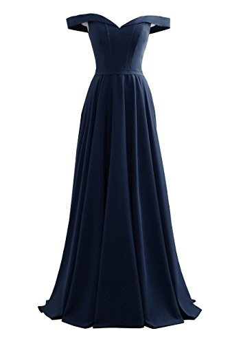 Prom Pleated The Dress Satin Women's blue Navy Backless Shoulder Evening Yinyyinhs Off q0Ixa