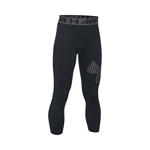 Under Armour Boys' HeatGear Armour Logo  Leggings, Black/Graphite, Youth X-Large