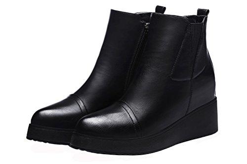 Guciheaven Kvinner Enkel Måte Kort Boot Hel Såle Plysj Foret Lær Kiler Boot (svart / Rød) Svart