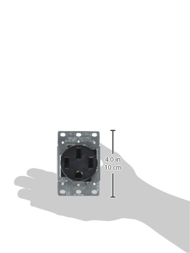 Industrial Grade Straight Blade 4W Nema 14-50R Flush Mounting Receptacle Side Wired Leviton 279-S00 50 Amp Black Grounding Steel Strap 3P 125//250V