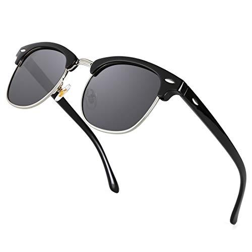 TIJN Semi Rimless Sunglasses for Women Men Polarized Classic Half Frame Sun Glasses (black frame with gray lens, Classic Plastic Temple)