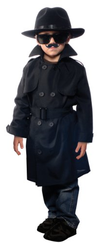 Halloween Spy Costume (Aeromax Jr. Secret Agent with accessories, Size Youth Large, OSFM ages 9-12)