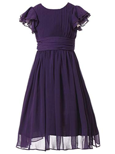 Happy Rose Flower Girl's Dress Prom Party Dresses Bridesmaid Dress Purple 14 (Girls Party Dresses Size 14)