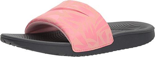 Nike Girl's Kawa Slide Dark Grey/Tropical Pink-Coral Chalk 13C