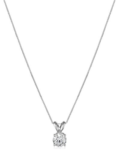 IGI Certified 14k White Gold Lab Created Diamond Pendant Necklace (3/4 ct, I-J Color, SI1-SI2 Clarity), - Pendant Created Necklace Diamond