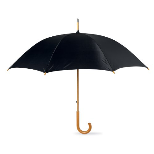 Classic Manual Umbrella (eBuyGB Classic Umbrella with Wooden Handle - Manual Opening Wedding Gentlemans Brolly (Black))