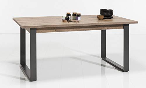 Meubletmoi - Mesa de comedor extensible de madera y metal, diseno industrial Factory – Coleccion Brooklyn