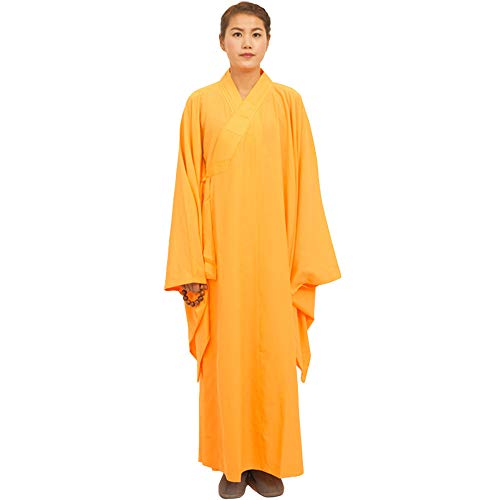 ZooBoo Shaolin Unisex Monk Kung fu Robe Costume Long Gown Suit (S/165, Yellow)