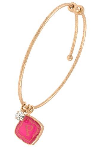 Trendy Fashion Jewelry Floral Pendant Charm Monogram Bracelet By Fashion Destination | (P) (Pendant Floral Circular)